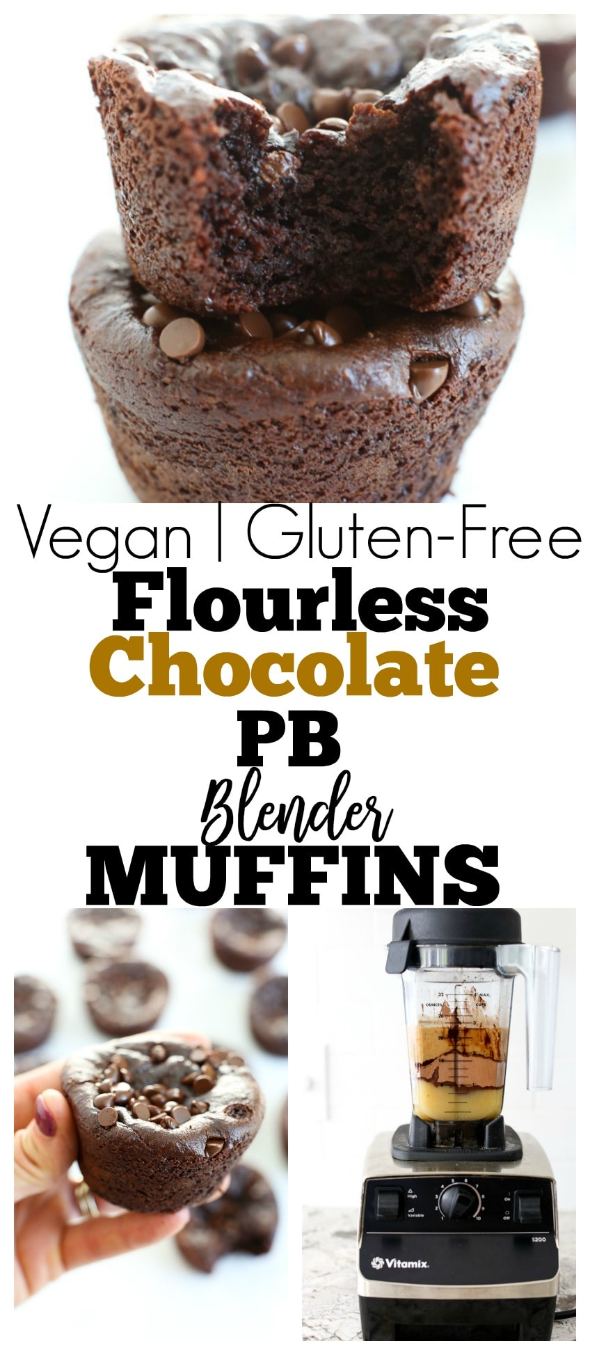 gluten-free, vegan, and no bananas in these Flourless Chocolate Peanut Butter Blender Muffins Recipe. Healthy dessert, breakfast, or snack idea. Paleo friendly too