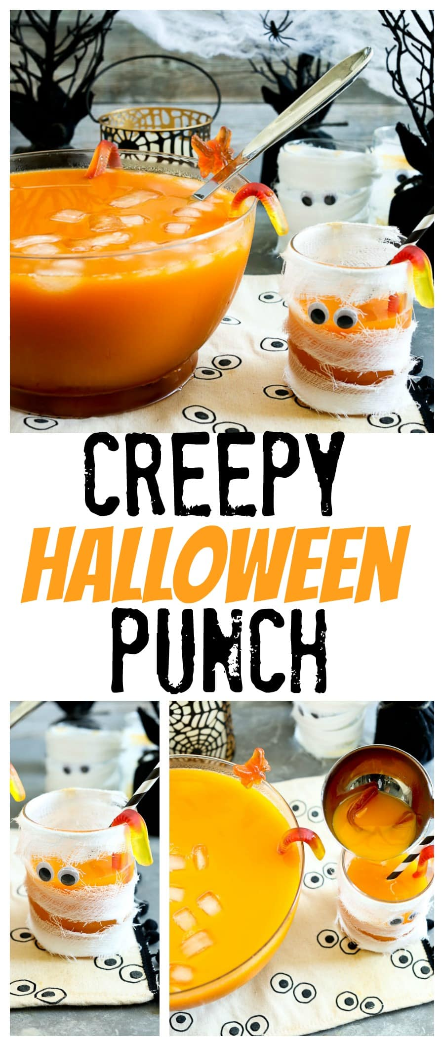 Creepy Halloween Punch perfect for your kids or classroom Halloween Party. Allergy friendly and no dyes, organic