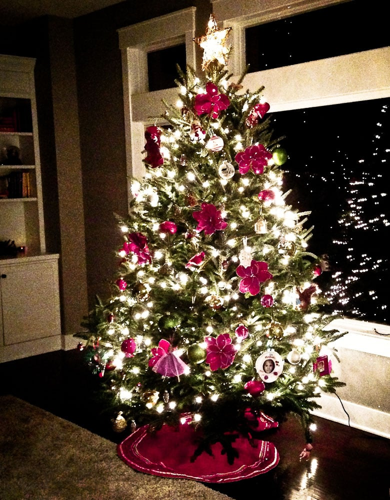 Ideas for Family Traditions for Chrismas-decorated Christmas tree with lights in the dark