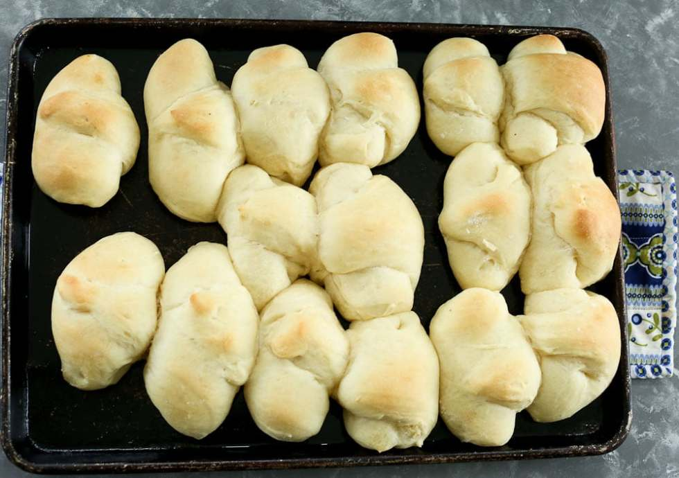 Perfect Bread Machine Dinner Rolls--crescent style rolls freshly baked