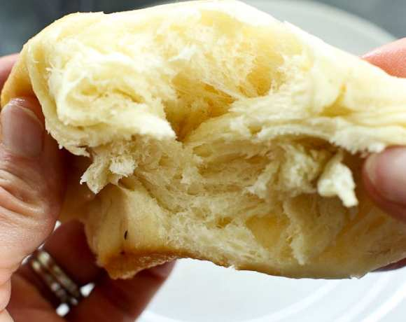 the inside of a perfect bread machine dinner roll