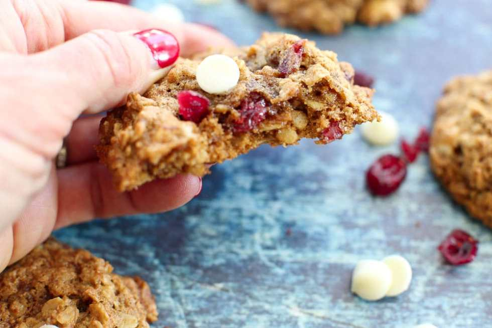 Cranberry White Chocolate Chip Oatmeal Cookies showing the moist and chewy middle