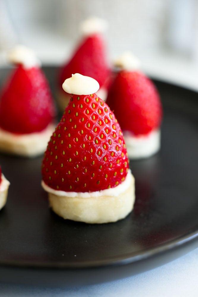 Strawberry Banana Santa Hats- close up picture easy healthy recipe