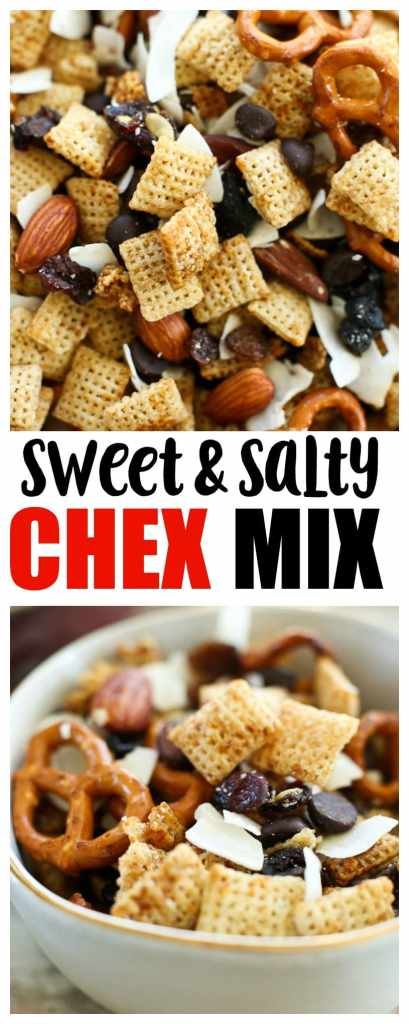 Sweet and Salty Chex Mix Recipe--perfect for your Christmas parties! #glutenfree #dairyfree #snackmix #chexmix