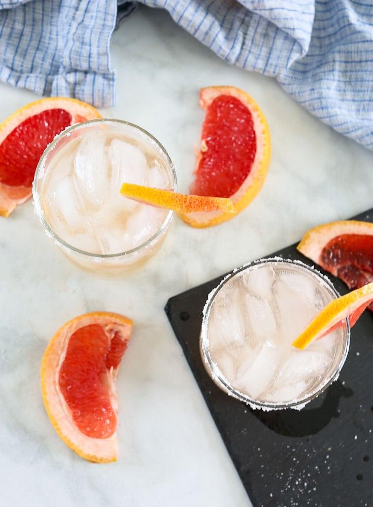 Grapefruit Margarita recipe overhead shot