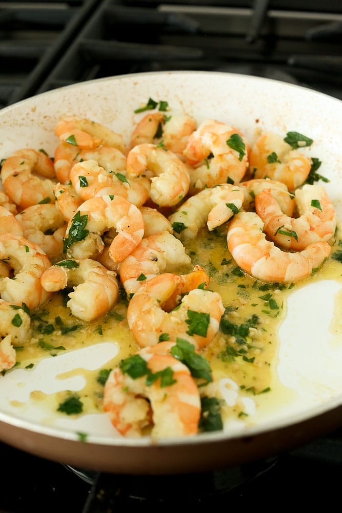 Shrimp Scampi Recipe-final step shrimp in pan with parsley and lemon juice