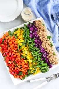 Rainbow Farro Salad recipe overhead shot #easy #healthy #recipe #salad #farro #healthyrecipes #vegetables #dinner #vegan #dairyfree