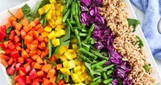Rainbow Farro Salad recipe overhead shot #easy #healthy #recipe #salad #farro #healthyrecipes #vegetables #dinner #vegan #dairyfree
