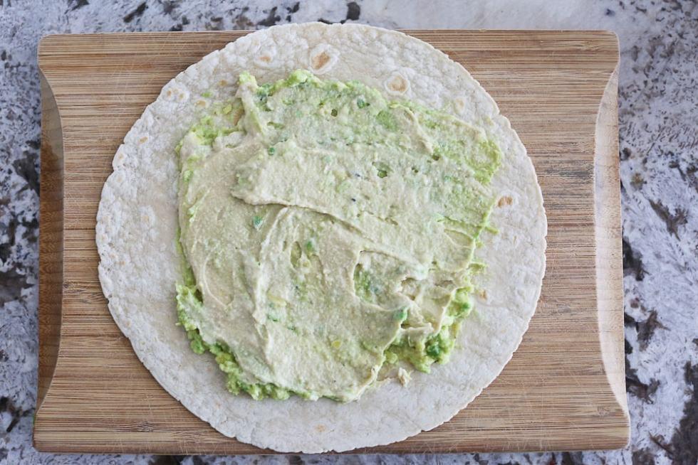 Hummus Veggie Wrap with avocado and hummus