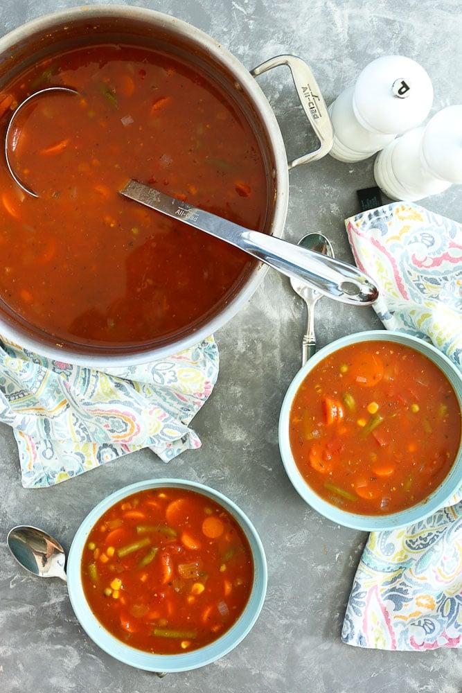 15 Minute Vegetable Soup recipe big pot