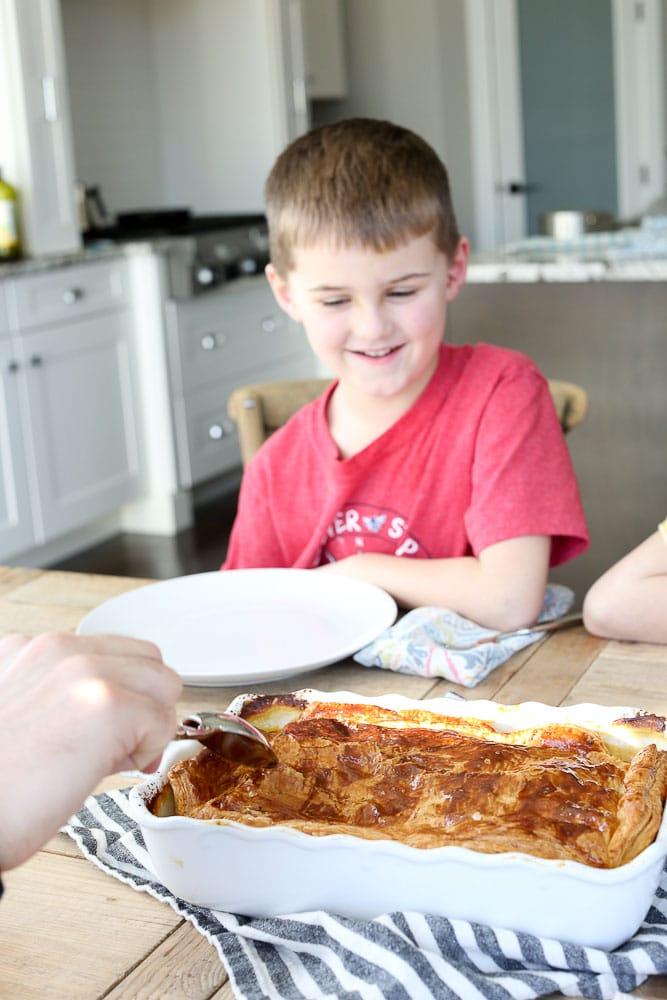 Luke looking at the Dairy-free Chicken Pot Pie