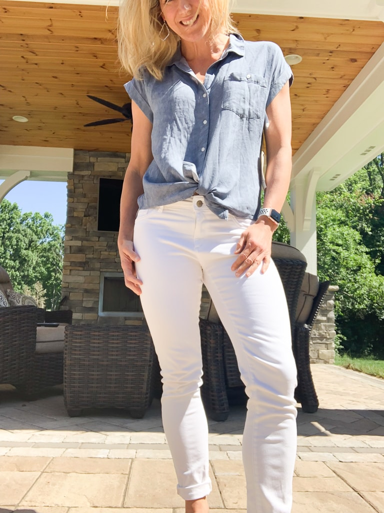 Stitch Fix Summer 2019 Hayford One Pocket Top front tied