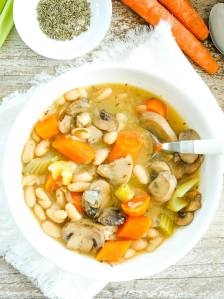 Instant Pot Vegetable Soup with Beans recipe overhead shot
