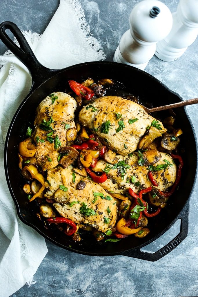 Skillet Chicken with Peppers and Mushrooms overhead shot