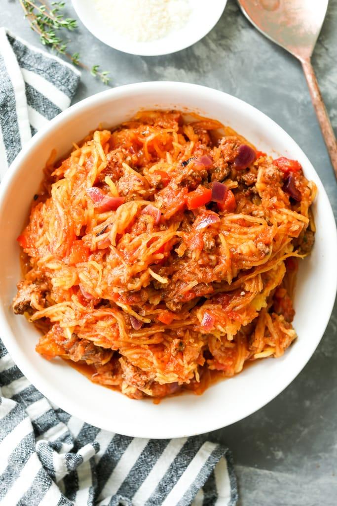 Spaghetti Squash Skillet Casserole in a serving bowl