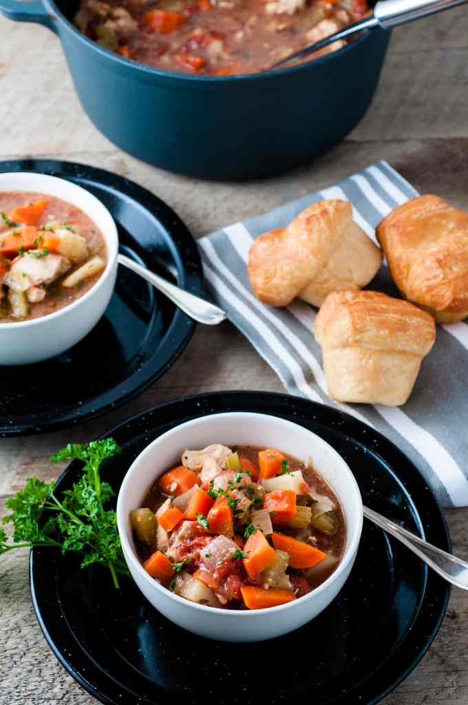 Easy Oven Chicken Stew Recipe overhead shot of two bowls filled