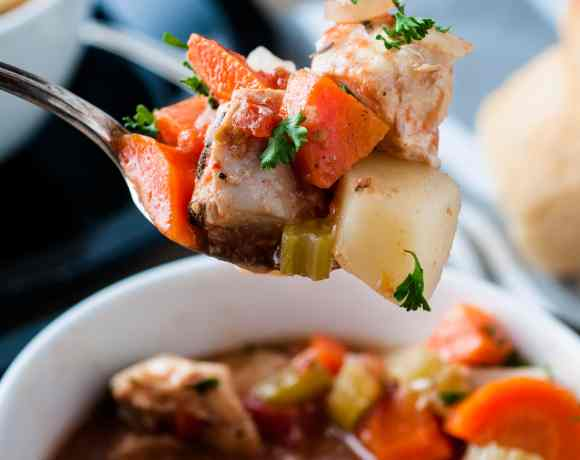 a spoonful of chicken stew