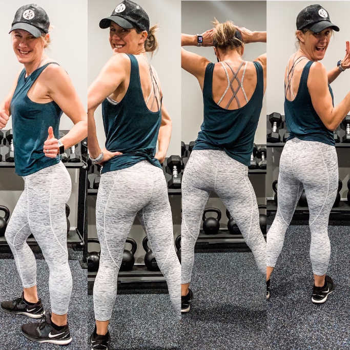 collage of 4 pictures in a row of Happy heathy Mama standing and looking over her shoulder in gray leggings and a green tank top