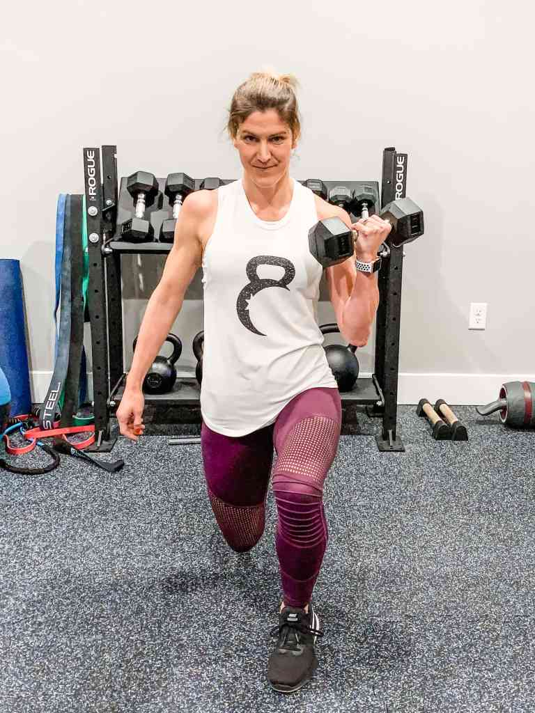 At-Home Circuit Workout - Split Lunge with Bicep Curl