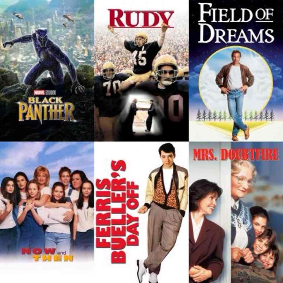 Family-Friendly Movies collage of movie posters with Black Panther, Rudy, Field of Dreams, Now and Then, Ferris Bueller's Day Off, and Mrs. Doubtfire