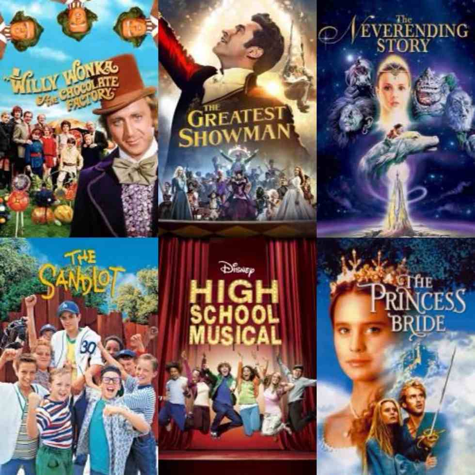 collage of movie poster with willy Wonka and the chocolate factory, the greatest showman, the never-ending story, sandlot, high school musical, and the princess bride