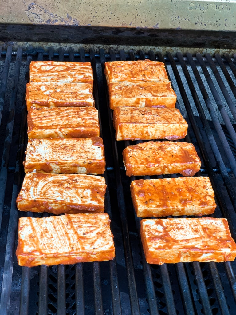 Grilled Barbecue Tofu on the grill