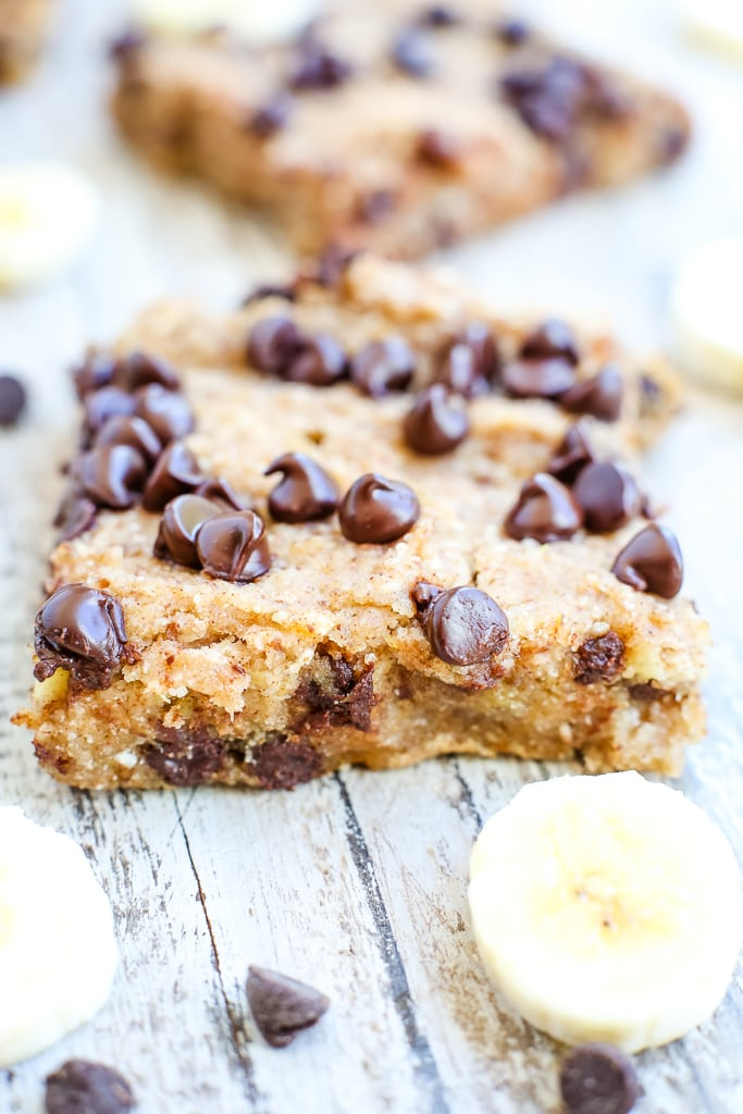 a close up of Healthy Banana Chocolate Chip Dessert Bars