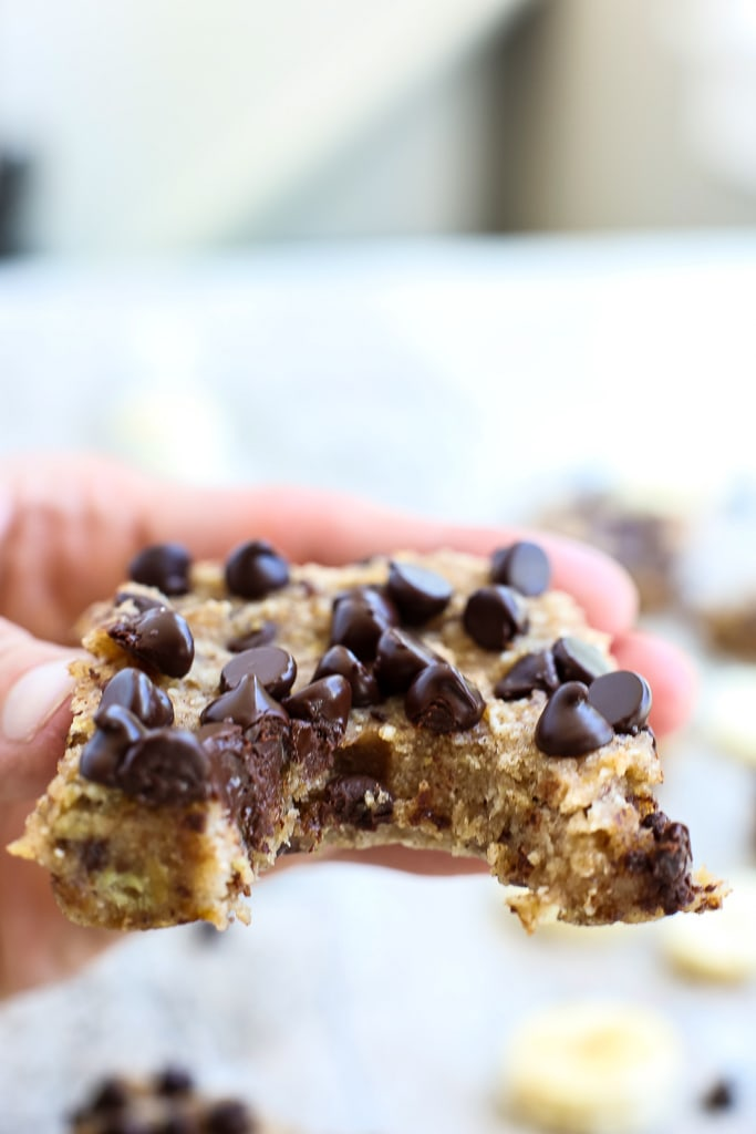 banana chocolate chip bar with a bite out of it