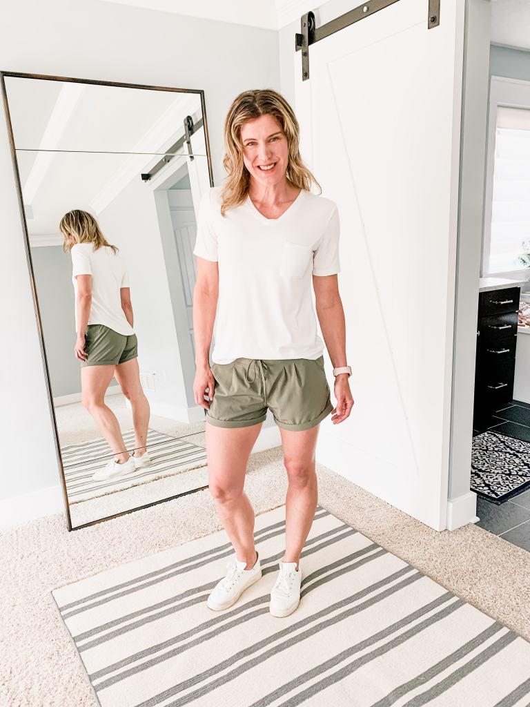 perfect white tee with olive shorts