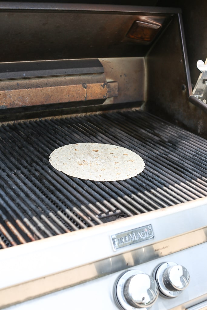 single tortilla on the grill