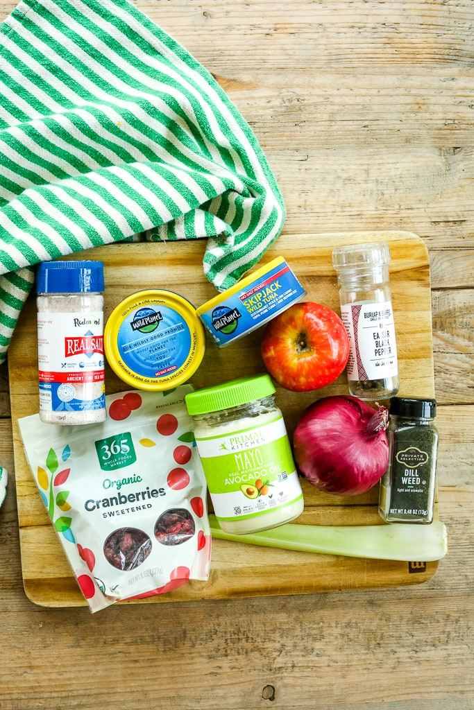 ingredients for apple cranberry tuna salad recipe