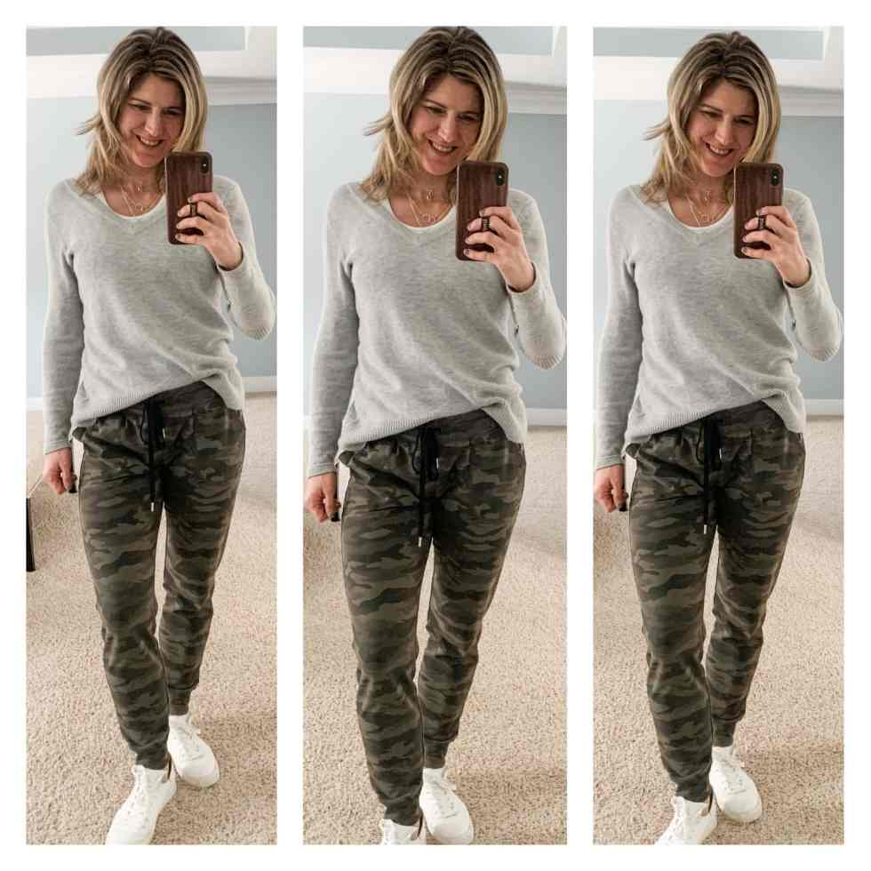 photo collage of woman in camo joggers and grey sweater with white sneakers