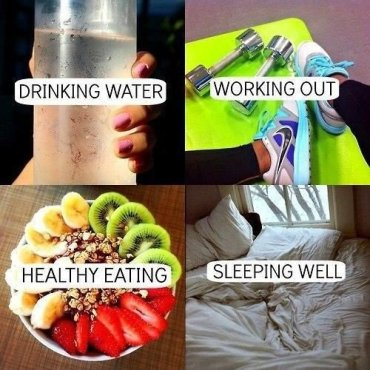 Health and Fitness- Drinking Water, Working Out, Healthy Eating, Sleeping Well