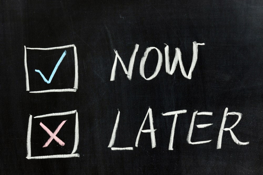Chalk Board with Now and Later - Don't Procrastinate