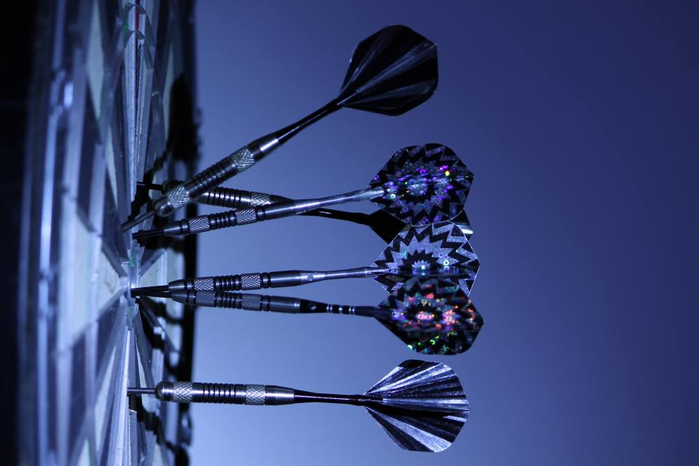Darts on a Dart Board Representing Goal Setting for Motivation