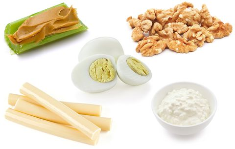 Low Carb Snacks Featuring Celery with Peanut Butter, Hard Boiled Egg, String Cheese, and Cottage Cheese