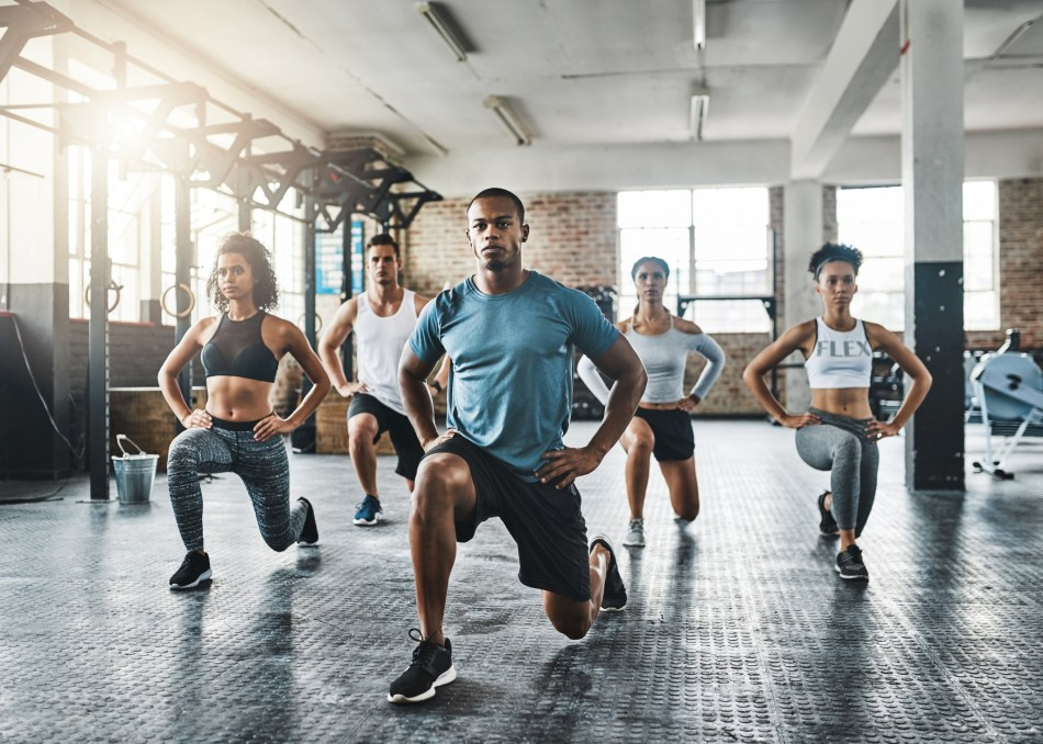 Types of Lunges- Group Doing Forward Lunges