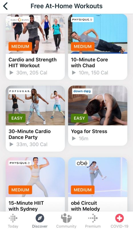Fitbit Free Workout Videos
