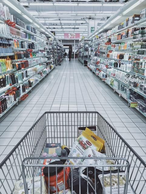 Shopping Cart with Healthy Grocery List Items
