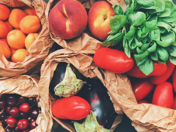 Fruits and Vegetables in bags