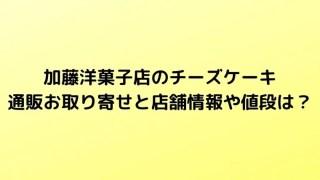 加藤洋菓子店のチーズケーキ通販お取り寄せと店舗情報や値段は?