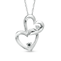 Black and White Diamond Accent Interlocking Hearts Pendant in Sterling Silver Sweepstakes