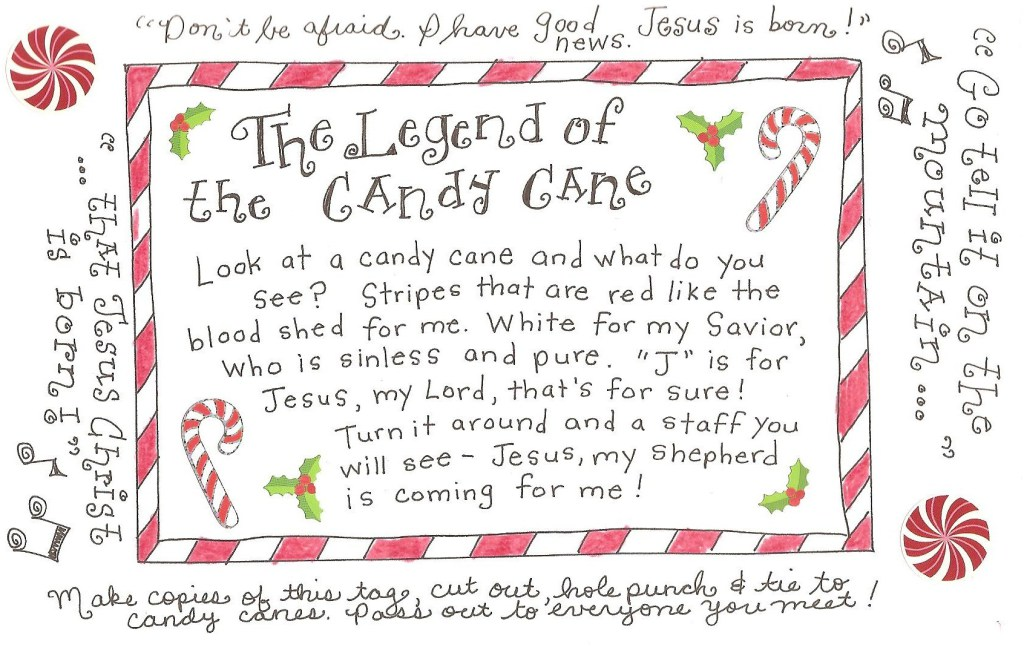 photograph relating to Candy Cane Poem Printable identified as The Legend of the Sweet Cane - No cost Printable Tag! - Joyful