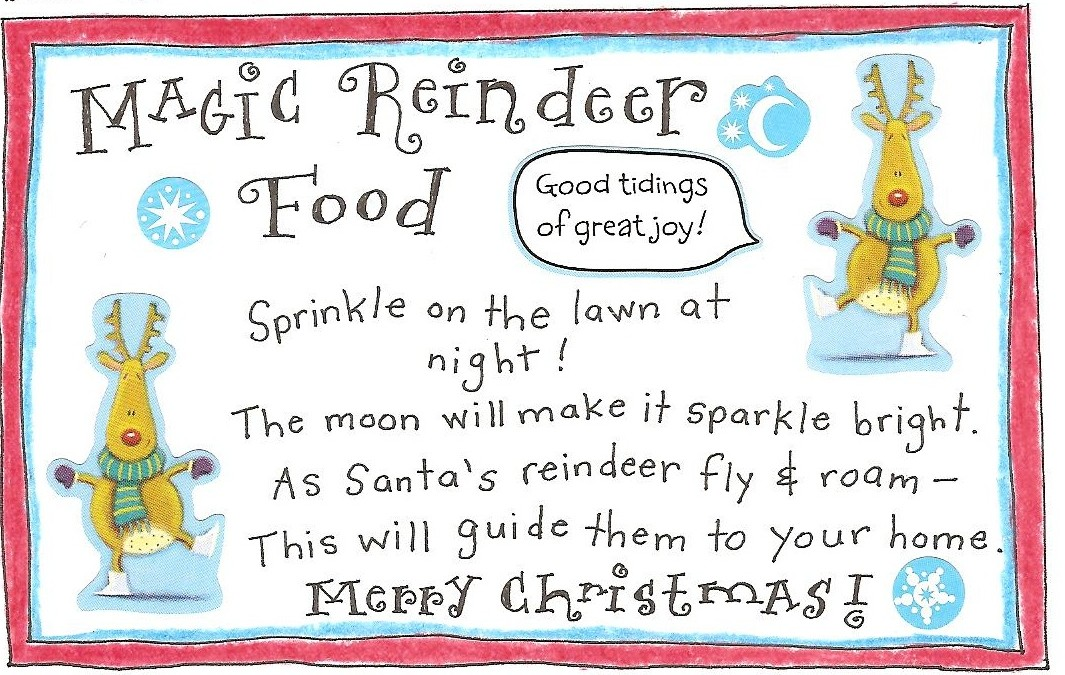 photograph relating to Reindeer Food Poem Printable named Reindeer Exciting and No cost Printable Magic Reindeer Meals Tag