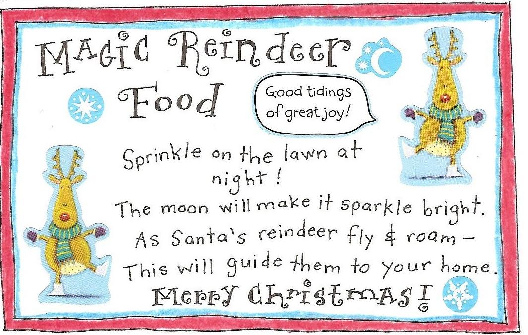 photograph about Reindeer Food Printable named Reindeer Exciting and Totally free Printable Magic Reindeer Foodstuff Tag