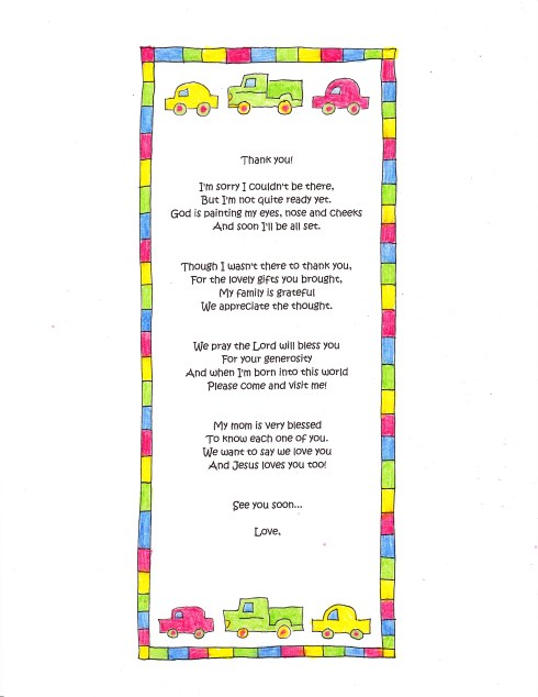 A Cute Baby Shower Thank You Poem - Happy Home Fairy