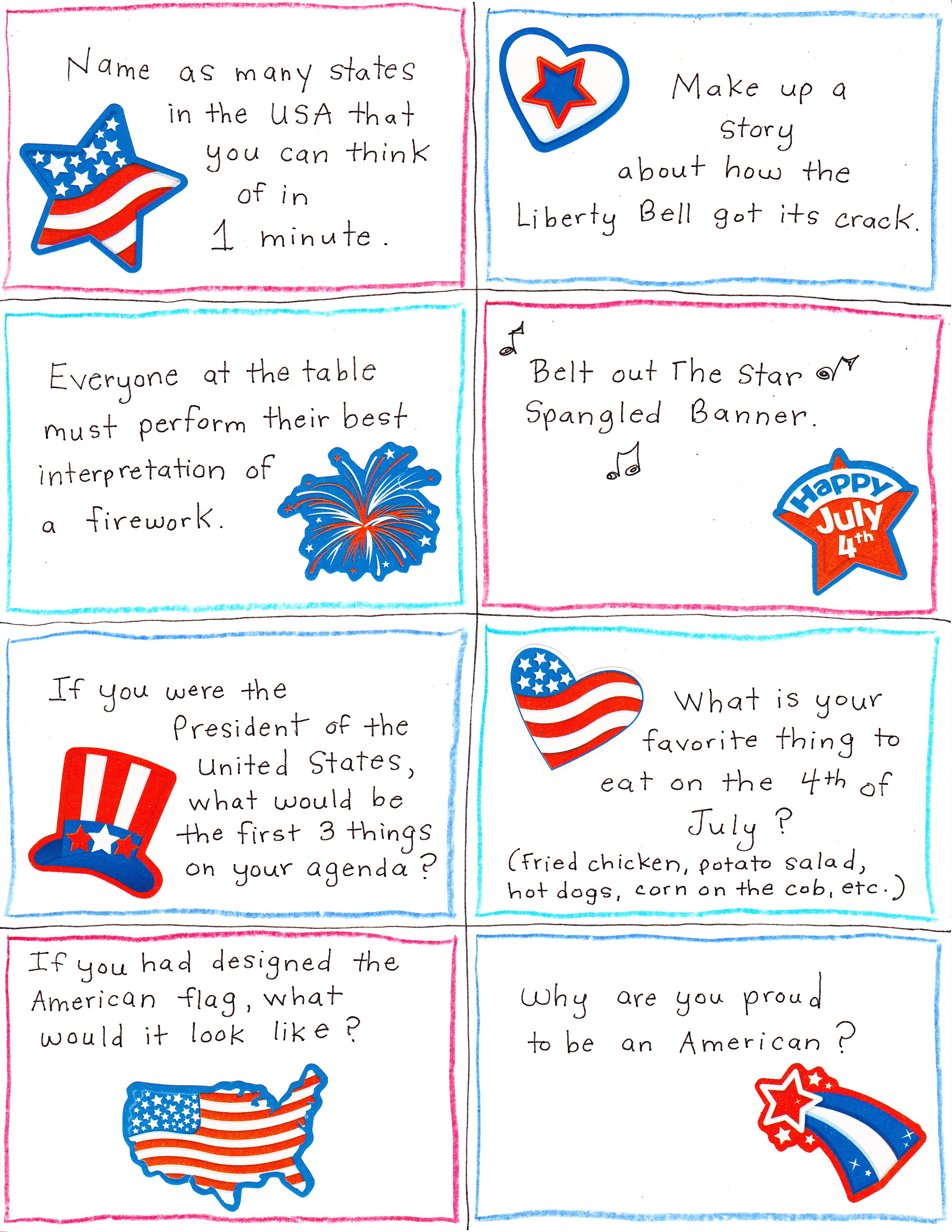 image relating to Printable Conversation Cards identified as 4th of July Interaction Newbie and Joke Playing cards - Free of charge