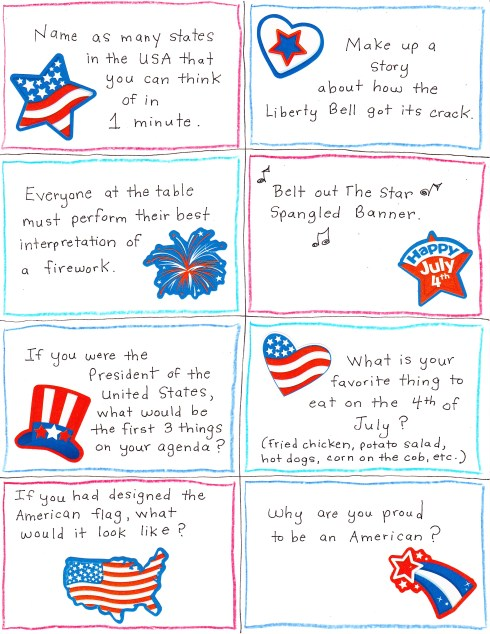 4th of July Conversation Starter and Joke Cards - FREE