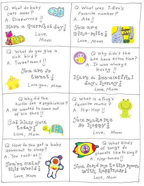 It is a graphic of Adorable Lunch Notes Ideas