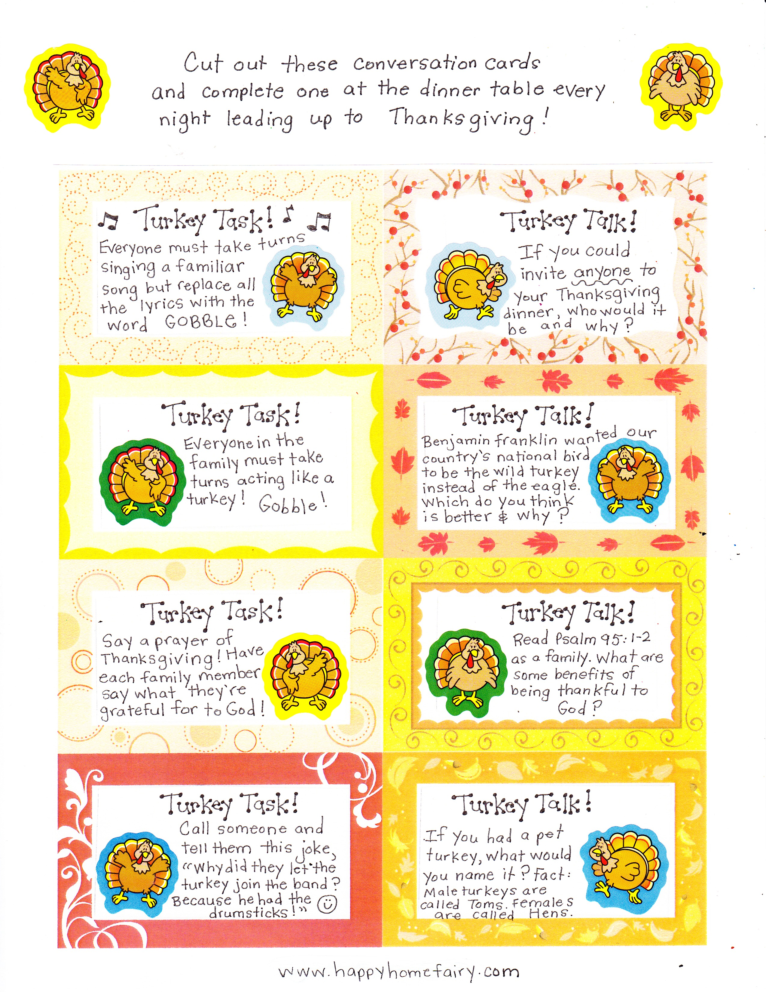 image about Printable Conversation Cards named Thanksgiving Interaction Playing cards - Cost-free Printables! - Delighted